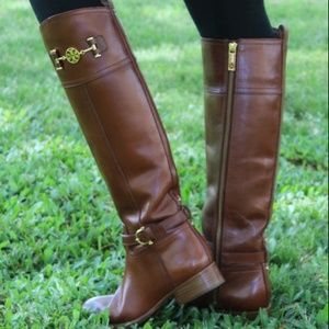Tory Burch Nadine Cognac Leather Tall Riding Boots